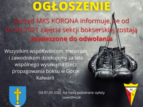 Od 1 września 2021 – treningi sekcji bokserskiej zawieszone